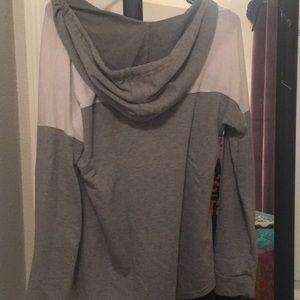 NOBO Tops - Blue and grey Faith hoodie sweatshirt